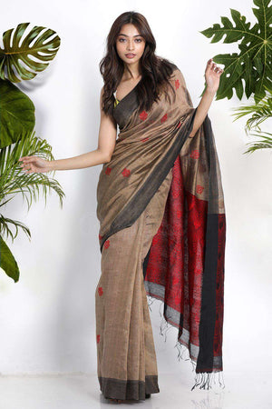 Beige Blended Linen Saree With Woven Motifs