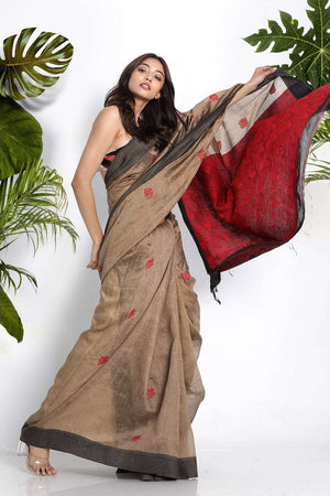 Beige Blended Linen Saree With Woven Motifs Earthen Collection Roopkatha - A Story of Art