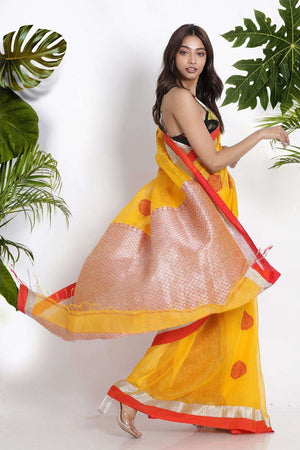 Yellow Blended Linen Saree With Zari Earthen Collection Roopkatha - A Story of Art