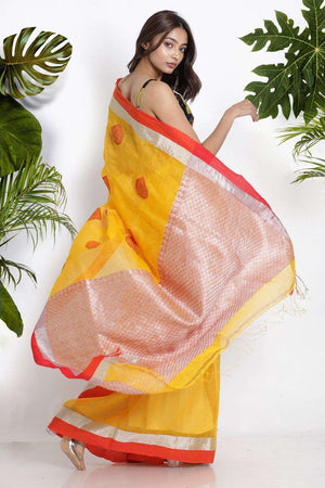 Yellow Blended Linen Saree With Zari