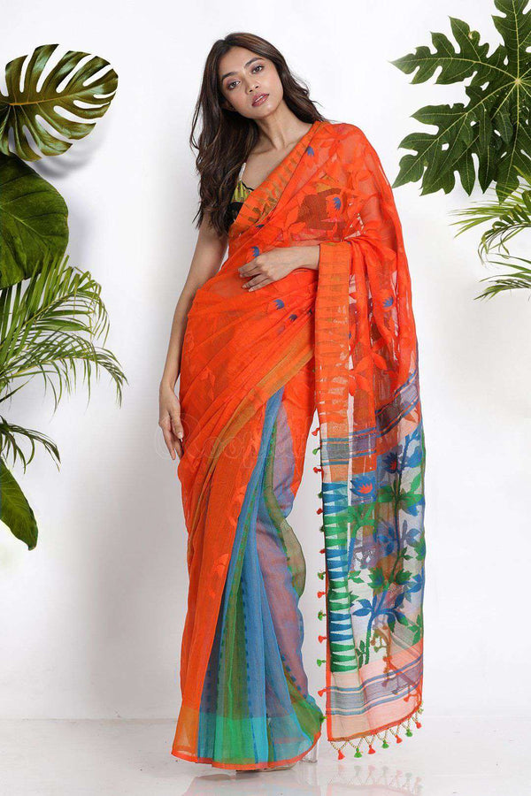 Orange Jamdani Saree With Thread Weave