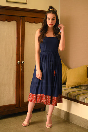 Navy Blue Dress With Maroon Printed Detailing