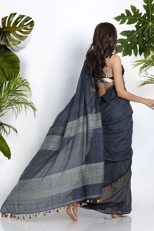 Grey Resham Noil Saree With Geecha
