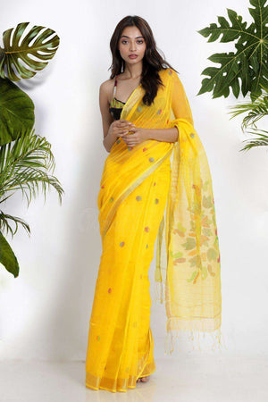 Yellow Blended Cotton Saree WIth Woven Design