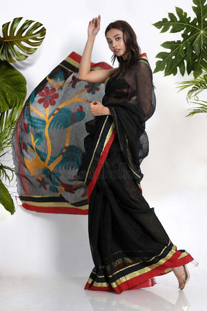 Black Linen Saree With Woven Pallu Earthen Collection Roopkatha - A Story of Art
