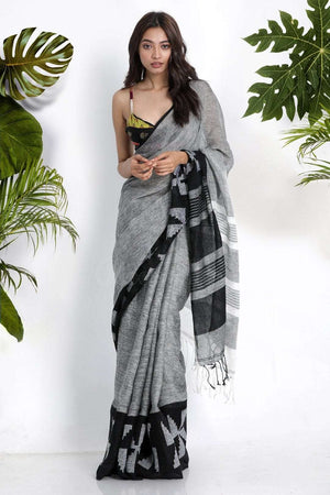 Grey Cotton Blended Linen Saree With Woven Border Earthen Collection Roopkatha - A Story of Art