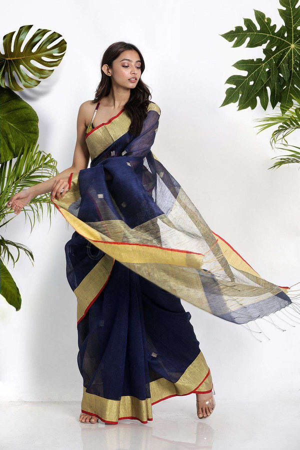 Blue Blended Linen Saree With Geecha Pallu Earthen Collection Roopkatha - A Story of Art