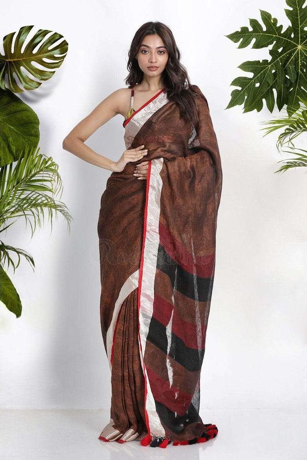 Brown Linen Cotton Saree WIth Zari Earthen Collection Roopkatha - A Story of Art