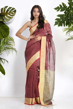 Pale Brown Linen Saree With Geecha Pallu Earthen Collection Roopkatha - A Story of Art