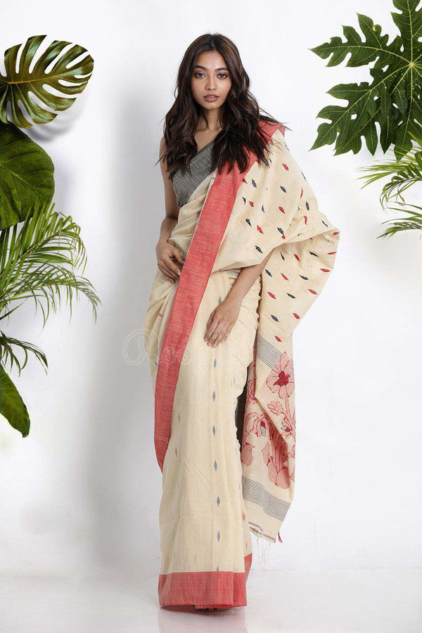 Off White Pure Cotton Saree With Woven Motifs Cotton Threads Of India Roopkatha - A Story of Art