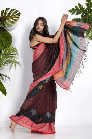 Dark Maroon Cotton Blended Linen Saree With Floral Motifs Earthen Collection Roopkatha - A Story of Art