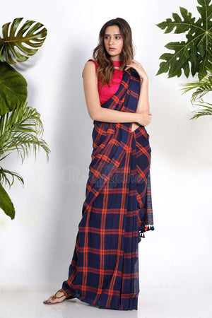 Blue Pure Cotton Saree With Checks Cotton Threads Of India Roopkatha - A Story of Art