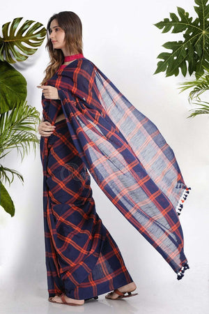 Blue Pure Cotton Saree With Checks