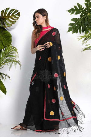 Black Linen Cotton Saree WIth Patchwork Earthen Collection Roopkatha - A Story of Art