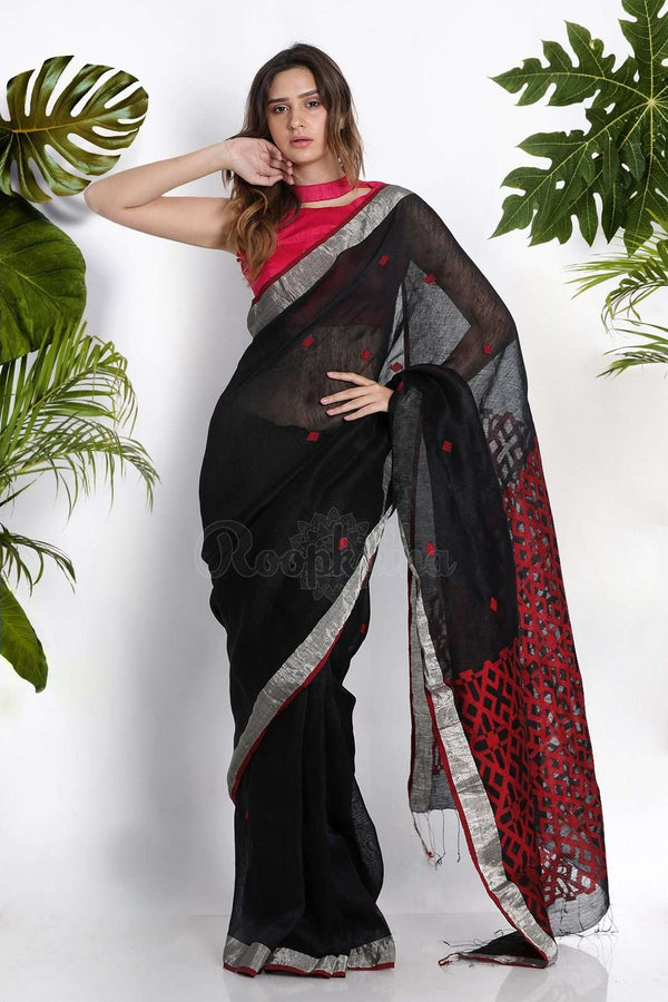 Black Cotton Blended Linen Saree With Woven Pallu Earthen Collection Roopkatha - A Story of Art