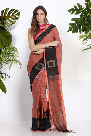 Orange Pure Cotton Saree With Box Border Cotton Threads Of India Roopkatha - A Story of Art