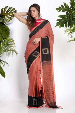 Light Brown Pure Cotton Saree With Box Border