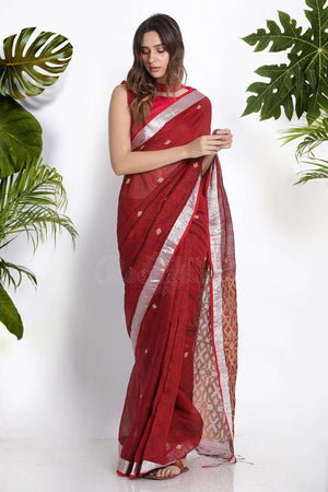 Maroon Blended Linen Saree With Zari Earthen Collection Roopkatha - A Story of Art