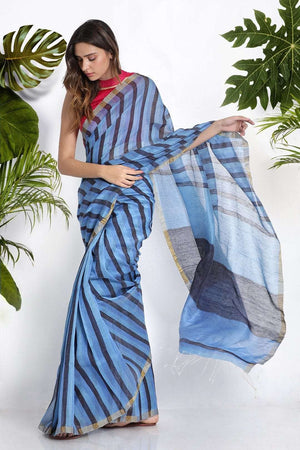 Blue Linen Silk Saree With Stripes Earthen Collection Roopkatha - A Story of Art