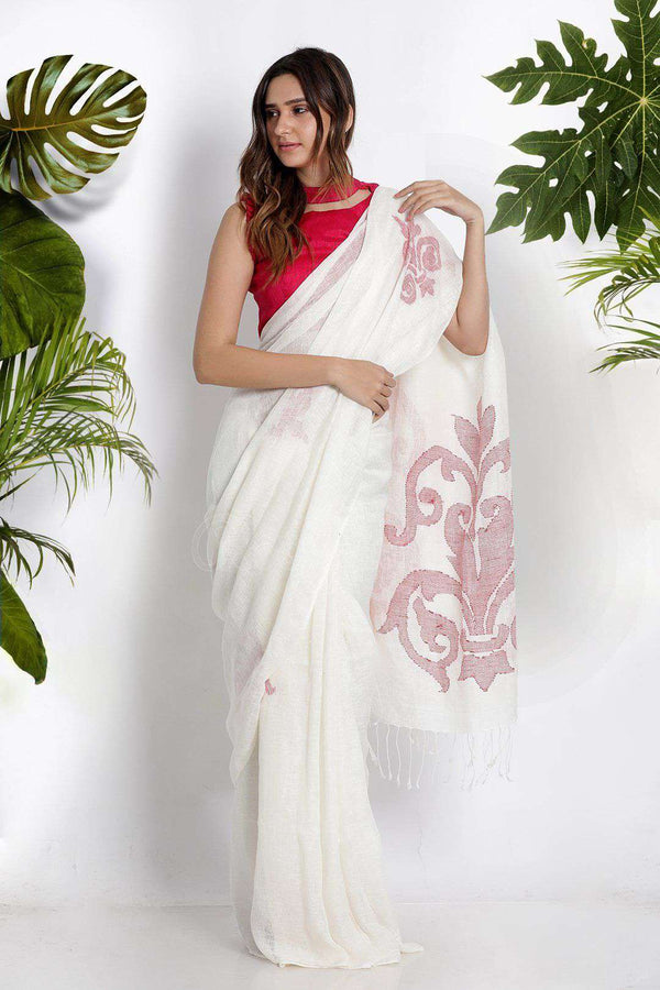 White Linen Cotton Saree With Woven Motifs Earthen Collection Roopkatha - A Story of Art