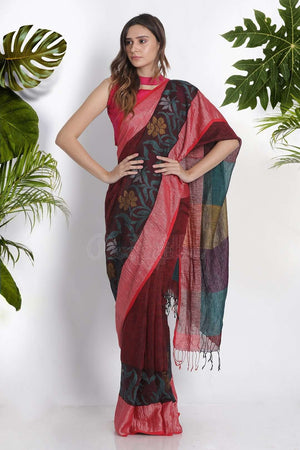 Maroon Linen Cotton Saree With Floral Weave Earthen Collection Roopkatha - A Story of Art
