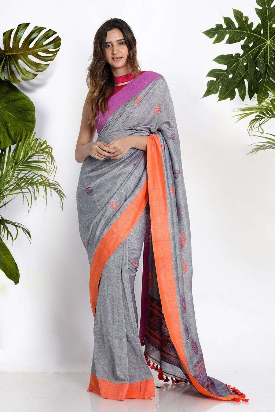 Grey Pure Cotton Saree With Dual Borders