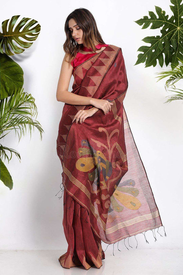 Maroon Blended Linen Saree With Woven Pallu