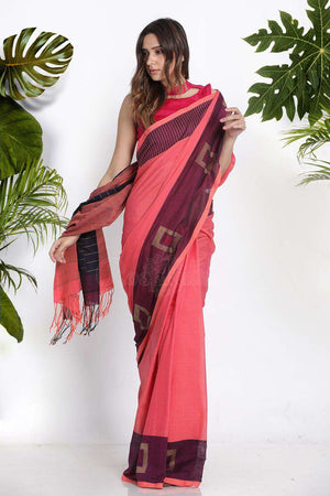 Coral Pure Cotton Saree With Box Border Cotton Threads Of India Roopkatha - A Story of Art