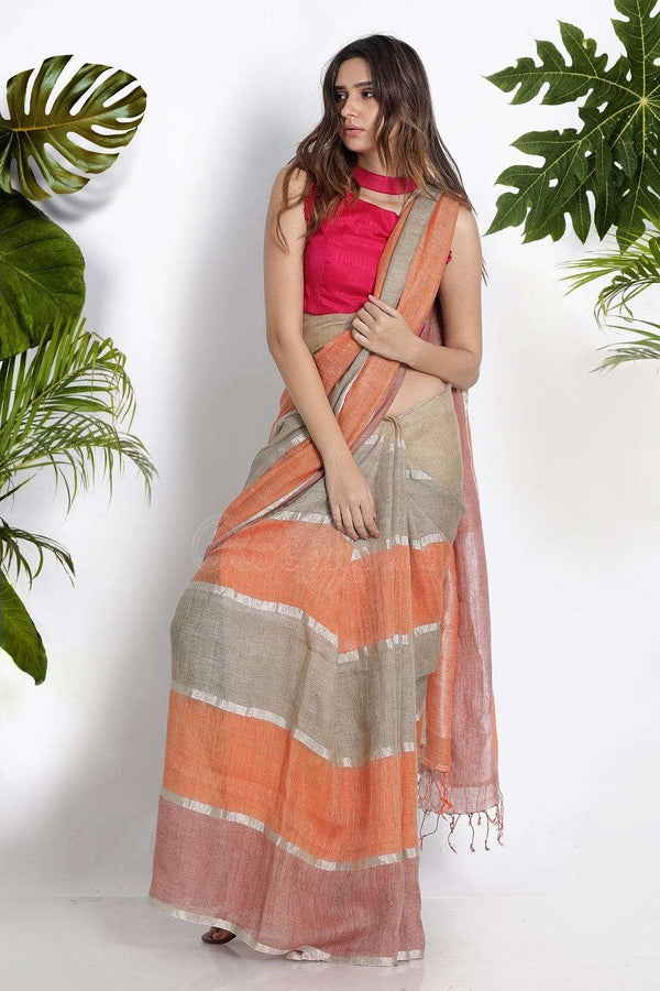 Multicolour Linen Saree With Zari Stripes Earthen Collection Roopkatha - A Story of Art