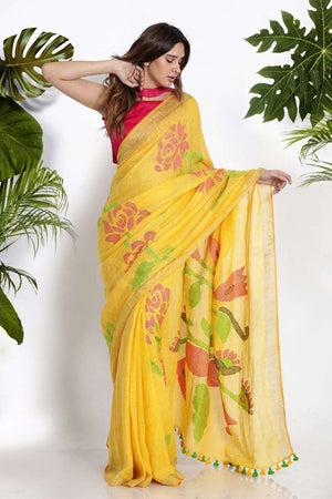 Yellow Blended Linen Saree With Woven Designs