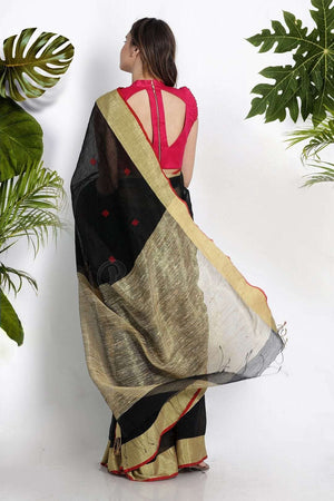 Black Blended Linen Saree With Geecha Pallu