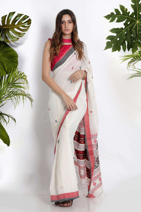 White Pure Cotton Saree With Woven Motifs