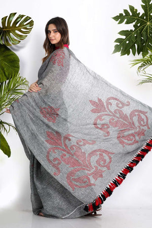 Grey Linen Cotton Saree With Woven Motifs Earthen Collection Roopkatha - A Story of Art