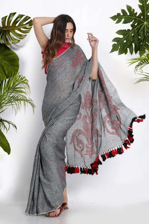 Grey Linen Cotton Saree With Woven Motifs