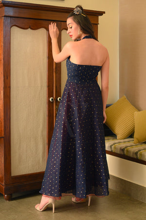Navy Blue & Maroon Halter Neck Flaired Gown