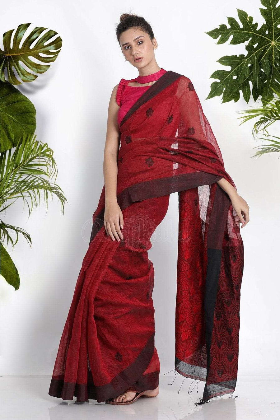 Maroon Blended Linen Saree With Woven Design