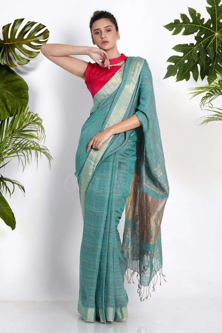 Blue Blended Linen Saree With Zari