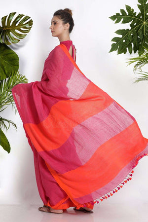 Pink Linen Cotton Saree With Orange Border Earthen Collection Roopkatha - A Story of Art
