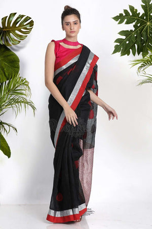 Black Blended Linen Saree With Woven Motifs