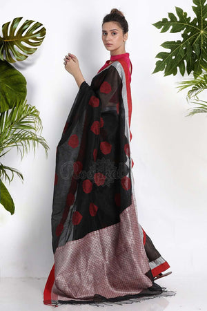 Black Blended Linen Saree With Woven Motifs Earthen Collection Roopkatha - A Story of Art