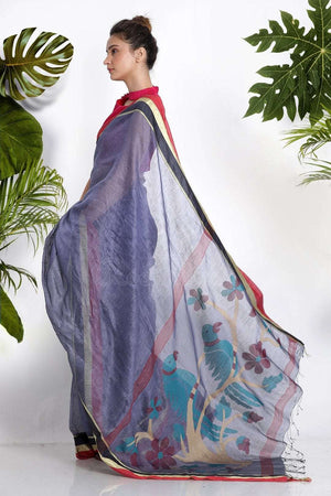Pale Blended Purple Linen Saree With Woven Pallu Earthen Collection Roopkatha - A Story of Art