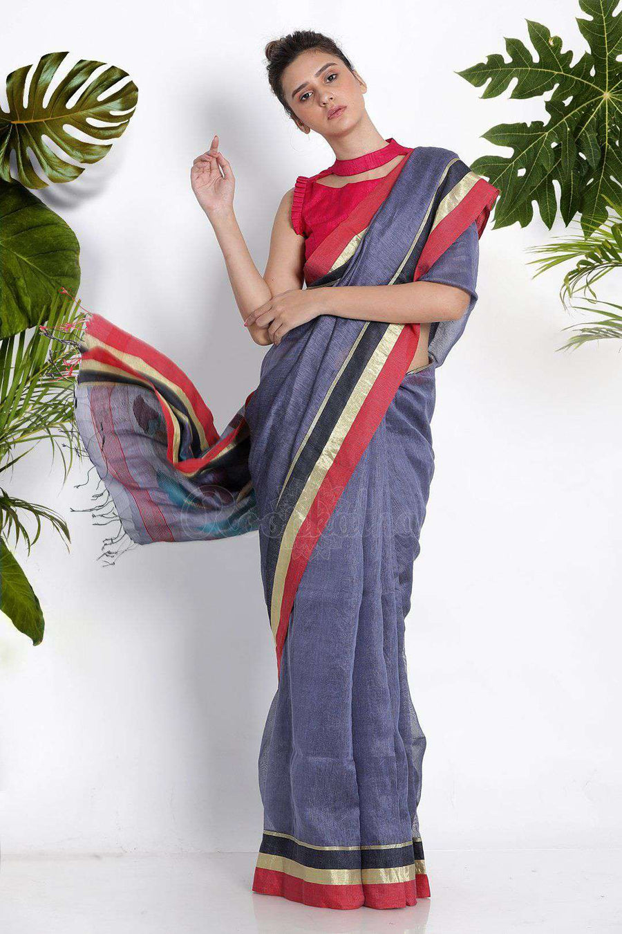 Pale Blended Purple Linen Saree With Woven Pallu