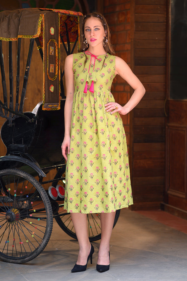 Lime Green Printed Sleeveless Dress