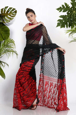 Black Jamdani Saree With Red Pallu Jamdani Weave Roopkatha - A Story of Art