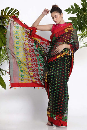 Black Jamdani Saree With Multicolour Thread Weave