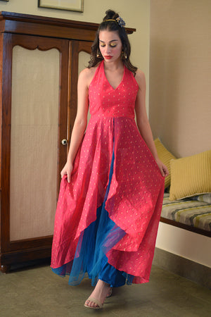 Pink & Blue Halter Neck Flaired Gown
