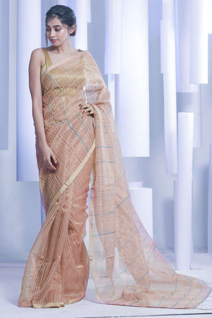 Pale Sepia Khadi Silk Saree With Zari Kriti Classics Roopkatha - A Story of Art