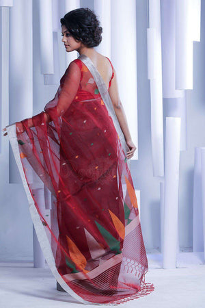 Maroon Handloom Silk Saree With Woven Pallu Kriti Classics Roopkatha - A Story of Art