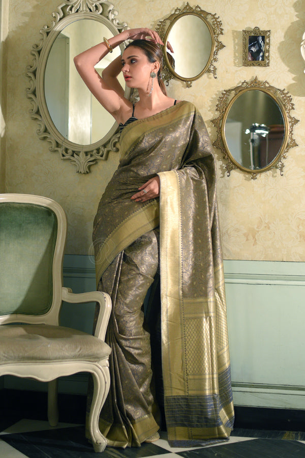 Grey Munga Silk Saree With Full Body Woven Zari Floral Designs