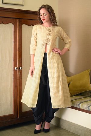 Beige & Golden Embroidered Kurta With Dhoti Pants
